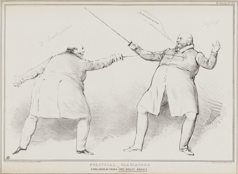 Political Gladiators or a Collision Between Two Great Bodies, by John ('HB') Doyle, printed by  Alfred Ducôte, published by  Thomas McLean, published 16 August 1833 - NPG D41218 - © National Portrait Gallery, London