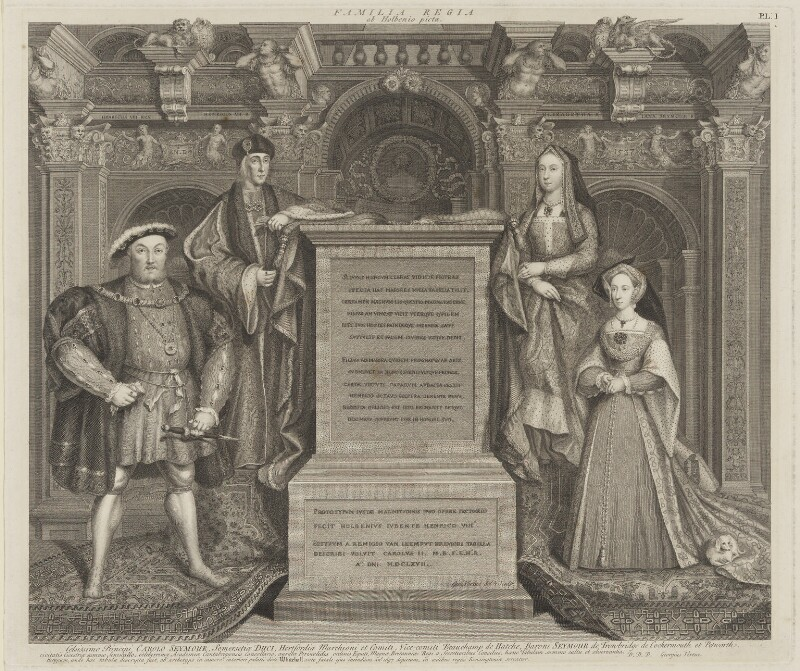 King Henry VIII; King Henry VII; Elizabeth of York; Jane Seymour, by George Vertue, after  Remigius van Leemput, after  Hans Holbein the Younger, 1737 - NPG D42238 - © National Portrait Gallery, London