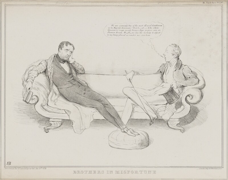 Brothers in Misfortune (John George Lambton, 1st Earl of Durham; Henry George Grey, 3rd Earl Grey), by John ('HB') Doyle, printed by  Alfred Ducôte, published by  Thomas McLean, published 20 January 1834 - NPG D41232 - © National Portrait Gallery, London