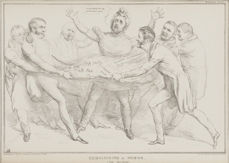 Demolishing a Prude, by John ('HB') Doyle, printed by  Alfred Ducôte, published by  Thomas McLean, published 5 March 1834 - NPG D41240 - © National Portrait Gallery, London