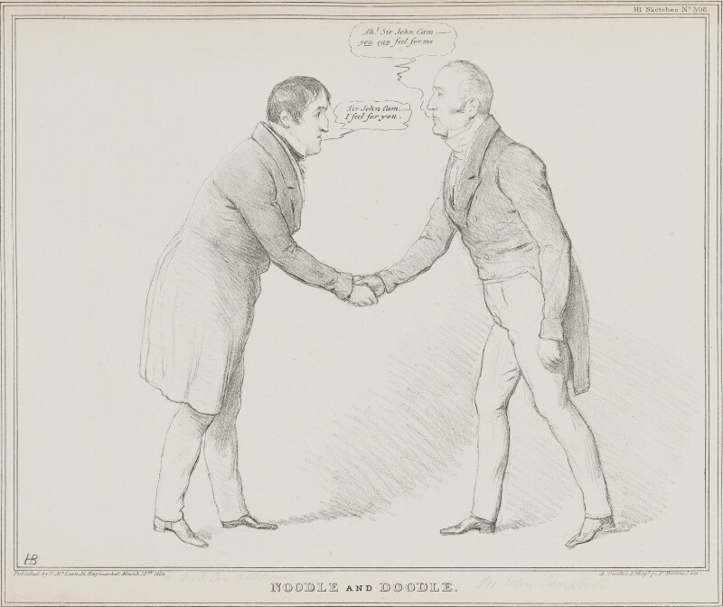Noodle and Doodle (John Cam Hobhouse, Baron Broughton de Gyfford; John Campbell, 1st Baron Campbell of St Andrews), by John ('HB') Doyle, printed by  Alfred Ducôte, published by  Thomas McLean, published 13 March 1834 - NPG D41243 - © National Portrait Gallery, London