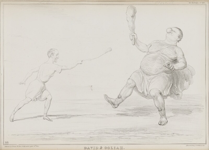 David and Goliah [Goliath] (Thomas Spring Rice, 1st Baron Monteagle of Brandon; Daniel O'Connell), by John ('HB') Doyle, printed by  Alfred Ducôte, published by  Thomas McLean, published 30 April 1834 - NPG D41251 - © National Portrait Gallery, London