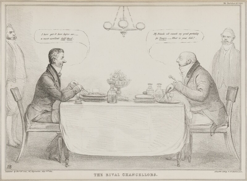 The Rival Chancellors (Henry Brougham, 1st Baron Brougham and Vaux; William Frederick, 2nd Duke of Gloucester), by John ('HB') Doyle, printed by  Alfred Ducôte, published by  Thomas McLean, published 20 May 1834 - NPG D41255 - © National Portrait Gallery, London
