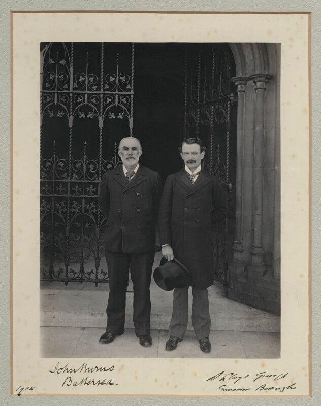 John Elliott Burns; David Lloyd George, by Sir (John) Benjamin Stone, 1902 - NPG x135489 - © National Portrait Gallery, London