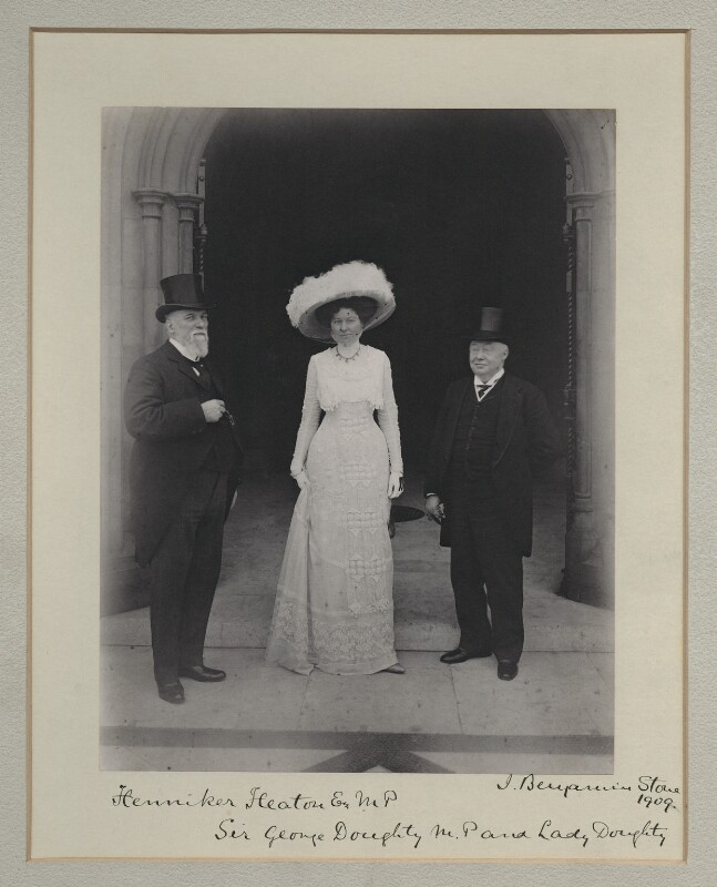 Sir John Henniker Heaton, 1st Bt; Eugenia Bertuance (née Stone), Lady Doughty; Sir George Doughty, by Benjamin Stone, 1909 - NPG x135512 - © National Portrait Gallery, London
