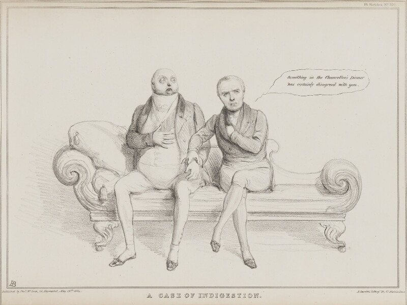 A Case of Indigestion (William Frederick, 2nd Duke of Gloucester; Sir Henry Halford, 1st Bt), by John ('HB') Doyle, printed by  Alfred Ducôte, published by  Thomas McLean, published 19 May 1834 - NPG D41256 - © National Portrait Gallery, London