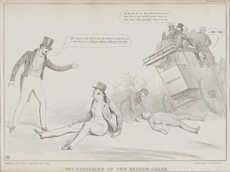 The Upsetting of the Reform Coach, by John ('HB') Doyle, printed by  Alfred Ducôte, published by  Thomas McLean, published 4 June 1834 - NPG D41259 - © National Portrait Gallery, London