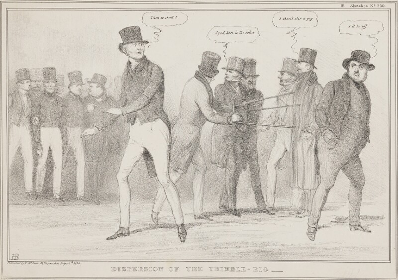 Dispersion of the Thimble-Rig, by John ('HB') Doyle, printed by  Alfred Ducôte, published by  Thomas McLean, published 14 July 1834 - NPG D41265 - © National Portrait Gallery, London