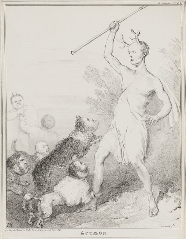 Actaeon, by John ('HB') Doyle, published by  Thomas McLean, published 1 September 1834 - NPG D41274 - © National Portrait Gallery, London