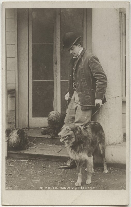 Sir John Martin-Harvey and his dog, by Unknown photographer, 1900s - NPG x160508 - © National Portrait Gallery, London