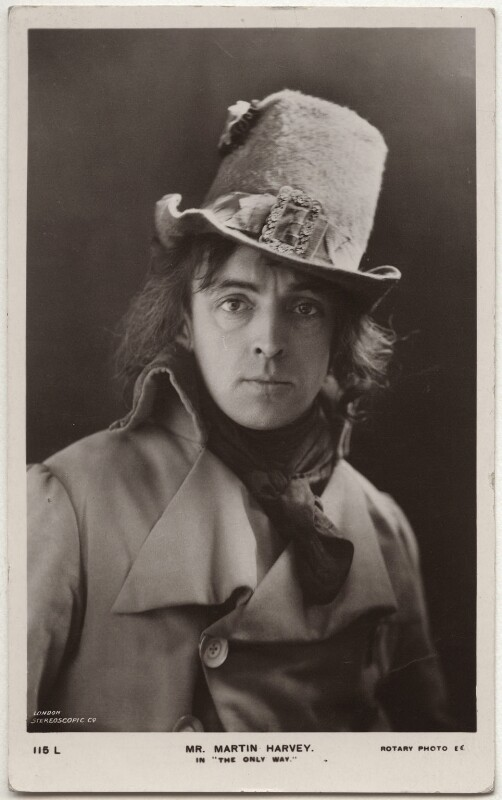 Sir John Martin-Harvey as Sydney Carton in 'The Only Way', by London Stereoscopic & Photographic Company, published by  Rotary Photographic Co Ltd, 1899 - NPG x160511 - © National Portrait Gallery, London
