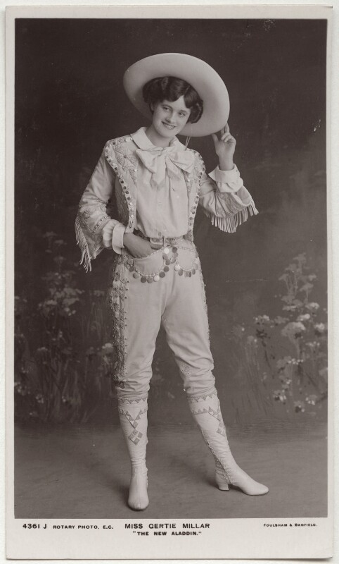 Gertie Millar as Lally in 'The New Aladdin', by Foulsham & Banfield, published by  Rotary Photographic Co Ltd, 1906 - NPG x160531 - © National Portrait Gallery, London