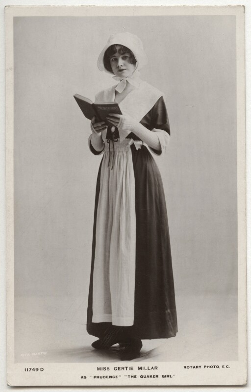 Gertie Millar as Prudence Pym in 'The Quaker Girl', by Rita Martin, published by  Rotary Photographic Co Ltd, 1910-1911 - NPG x160534 - © National Portrait Gallery, London