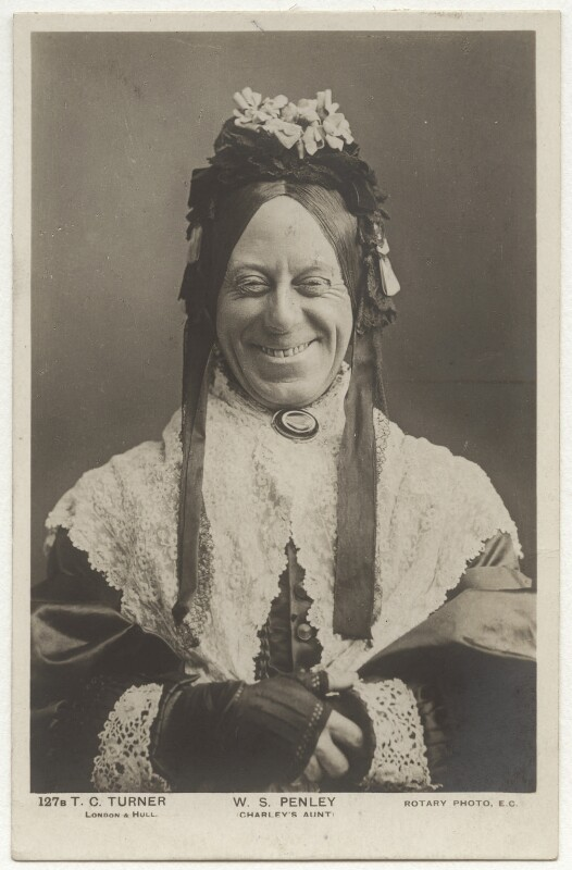 William Sydney Penley in 'Charley's Aunt', by Thomas Charles Turner, published by  Rotary Photographic Co Ltd, 1892 - NPG x160545 - © National Portrait Gallery, London