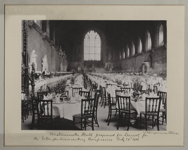 'Westminster Hall prepared for lunch for the Inter-Parliamentary Conference', by Benjamin Stone, 25 July 1906 - NPG x135540 - © National Portrait Gallery, London
