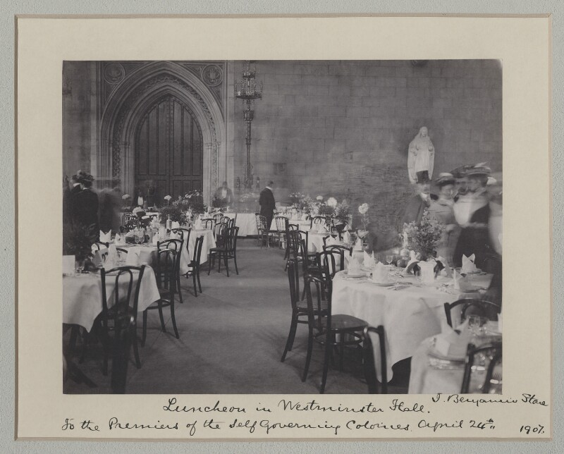 'Luncheon in Westminster Hall to the Premiers of the Self Governing Colonies', by Benjamin Stone, 24 April 1907 - NPG x135541 - © National Portrait Gallery, London