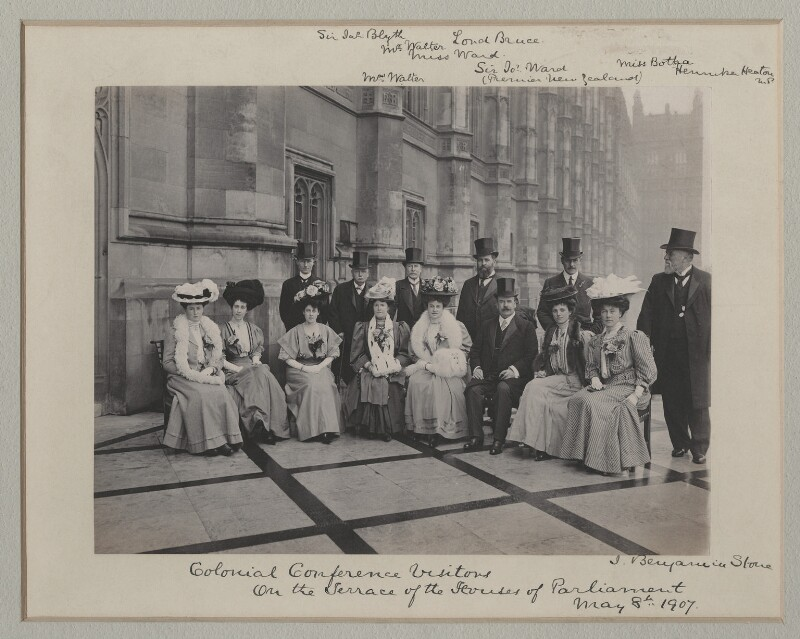 'Colonial Conference Visitors on the Terrace of the Houses of Parliament', by Benjamin Stone, 8 May 1907 - NPG x135547 - © National Portrait Gallery, London