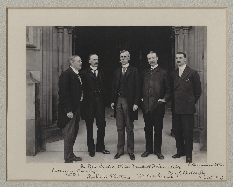 Sir Edmund William Gosse; Sir Evan Charteris; Oliver Wendell Holmes Jr; William Archer; (Arthur) Hugh Montagu Butler, by Benjamin Stone, 18 July 1907 - NPG x135549 - © National Portrait Gallery, London