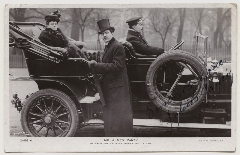 Agnes Zancig (née Claussen Jörgensen) and Julius Zancig in their six cylinder Napier motor car, by Campbell-Gray, published by  Rotary Photographic Co Ltd, circa 1910 - NPG x160612 - © National Portrait Gallery, London