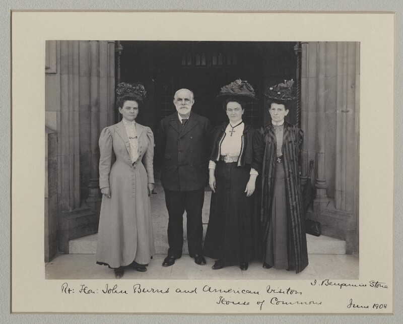 John Elliott Burns with American visitors to the House of Commons, by Benjamin Stone, June 1908 - NPG x135550 - © National Portrait Gallery, London