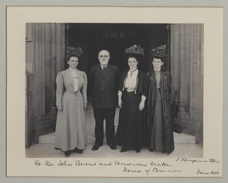 John Elliott Burns with American visitors to the House of Commons, by Sir (John) Benjamin Stone, June 1908 - NPG x135550 - © National Portrait Gallery, London