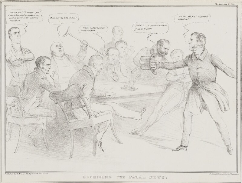 Receiving the Fatal News!, by John ('HB') Doyle, printed by  Ducôte & Stephens, published by  Thomas McLean, published 1 December 1834 - NPG D41290 - © National Portrait Gallery, London