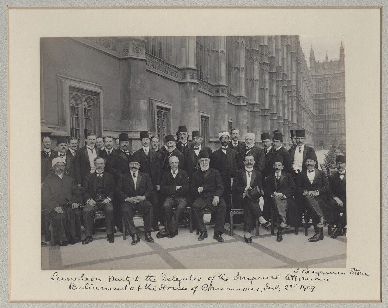 'Luncheon Party to the Delegates of the Imperial Ottomon Parliament at the House of Commons', by Sir (John) Benjamin Stone, 22 July 1909 - NPG x135604 - © National Portrait Gallery, London