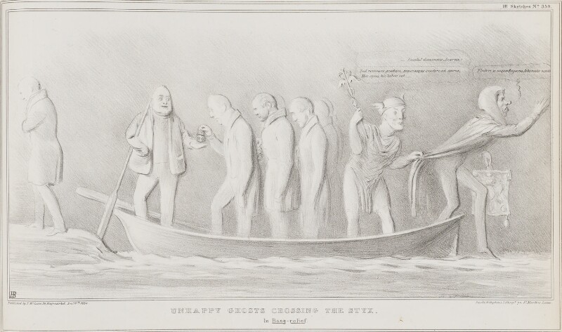 Unhappy Ghosts Crossing the Styx, by John ('HB') Doyle, printed by  Ducôte & Stephens, published by  Thomas McLean, published 11 December 1834 - NPG D41293 - © National Portrait Gallery, London