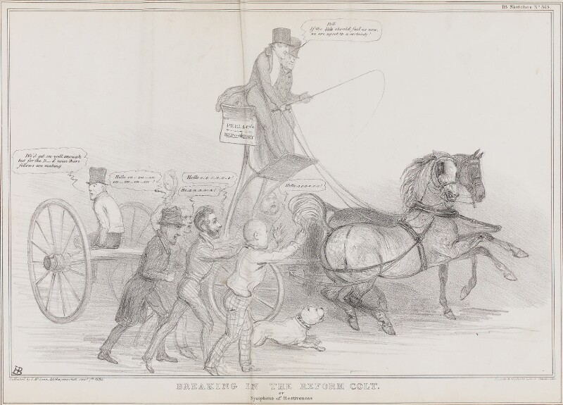 Breaking in the Reform Colt, by John ('HB') Doyle, printed by  Ducôte & Stephens, published by  Thomas McLean, published 7 January 1835 - NPG D41299 - © National Portrait Gallery, London
