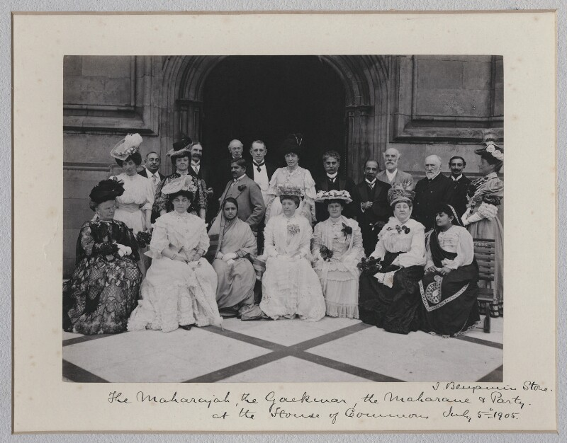 The Maharaja and Maharani of Baroda and party on the Terrace of the House of Commons, by Sir (John) Benjamin Stone, 5 July 1905 - NPG x135610 - © National Portrait Gallery, London