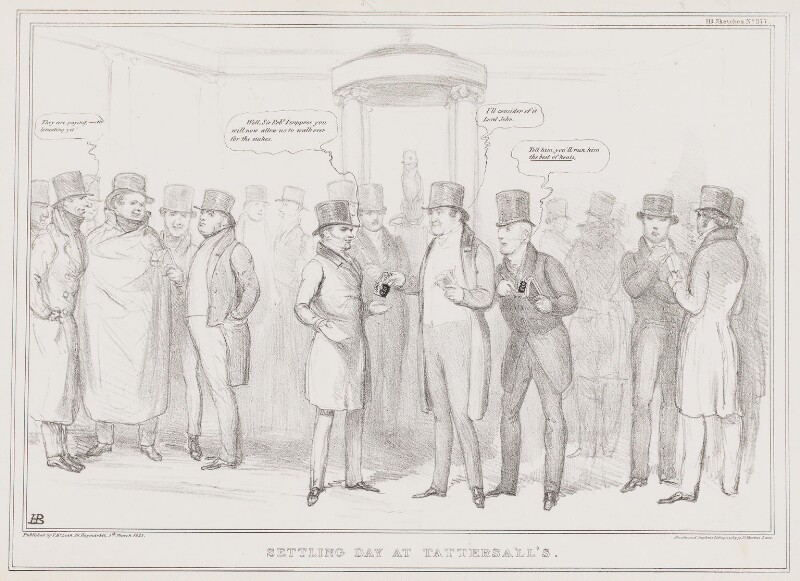 Settling Day at Tattersall's, by John ('HB') Doyle, printed by  Ducôte & Stephens, published by  Thomas McLean, published 5 March 1835 - NPG D41311 - © National Portrait Gallery, London