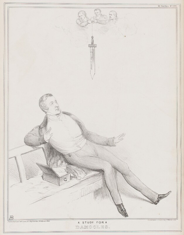 A Study for a Damocles, by John ('HB') Doyle, printed by  Ducôte & Stephens, published by  Thomas McLean, published 24 March 1835 - NPG D41316 - © National Portrait Gallery, London