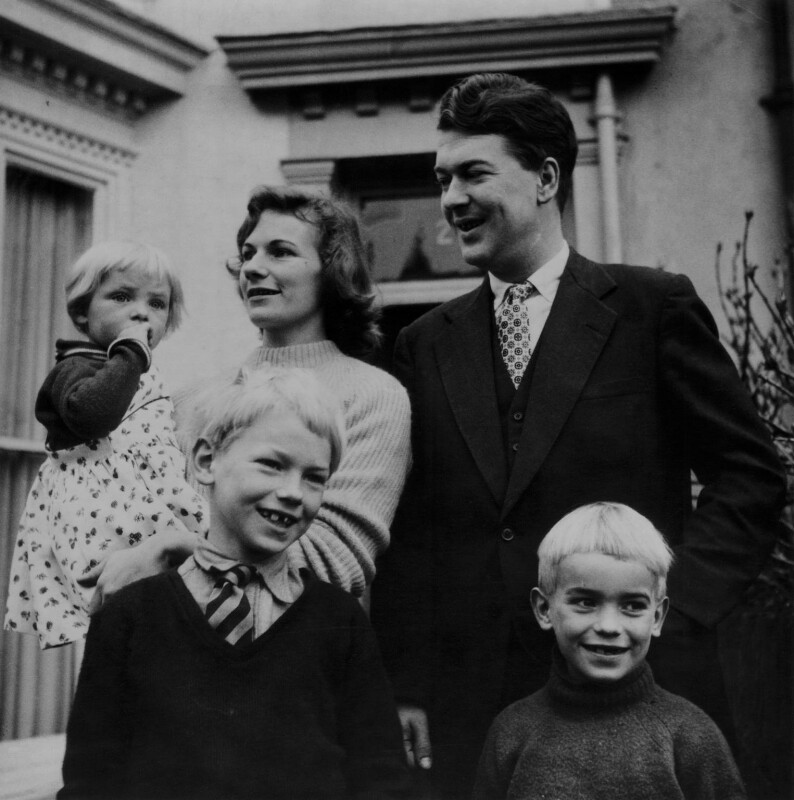 Sir Kingsley Amis and family, by Daniel Farson, 18 June 1956 - NPG x135684 - © estate of Daniel Farson / National Portrait Gallery, London