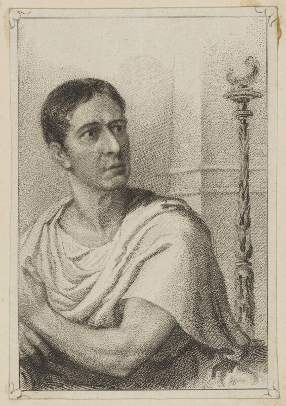 John Philip Kemble as Cato, by John Rogers, published by  Thomas Charles Wageman, after  T & I Elvey, published 1822 - NPG D38633 - © National Portrait Gallery, London