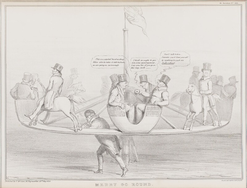 Merry Go Round, by John ('HB') Doyle, printed by  Ducôte & Stephens, published by  Thomas McLean, published 15 May 1835 - NPG D41327 - © National Portrait Gallery, London