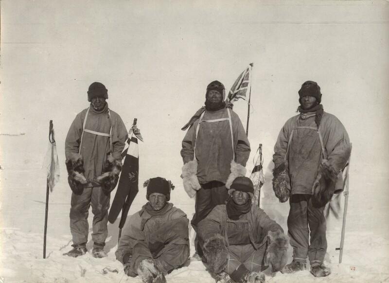 Lawrence Oates; Birdie Bowers; Robert Falcon Scott; Edward Adrian Wilson; Edgar Evans, by Unknown photographer, 17 January 1912 - NPG x135720 - © National Portrait Gallery, London