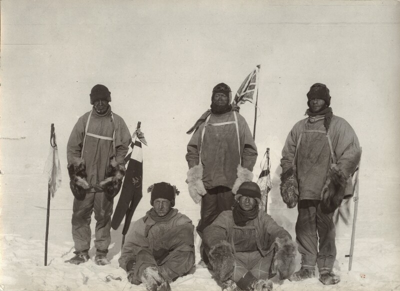 'The Polar Party at the South Pole' (Lawrence Oates; Birdie Bowers; Robert Falcon Scott; Edward Adrian Wilson; Edgar Evans), by Henry Robertson ('Birdie') Bowers, added to by  Herbert George Ponting, 17 January 1912 - NPG x135720 - © National Portrait Gallery, London