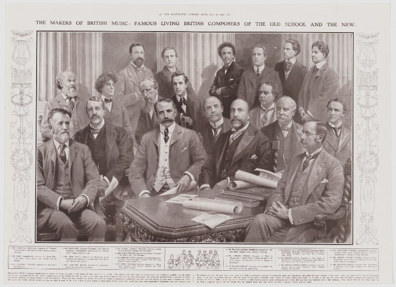 The Makers of British Music: Famous Living British Composers of the Old School and the New, after Samuel Begg, published 24 October 1908 - NPG D42284 - © National Portrait Gallery, London