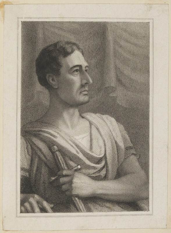 John Philip Kemble as Cato, by John Rogers, published by  T & I Elvey, after  Thomas Charles Wageman, published 1822 - NPG D38641 - © National Portrait Gallery, London