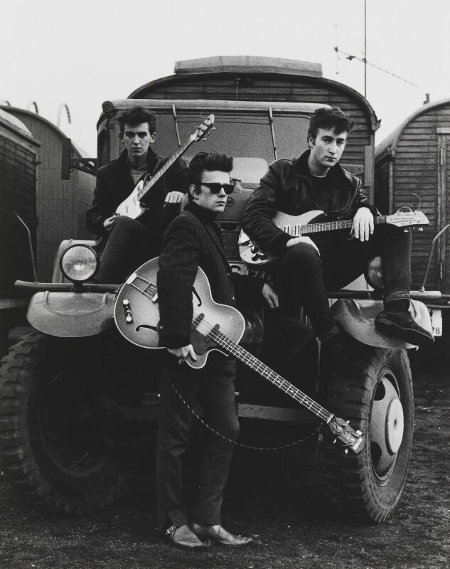 The Beatles (George Harrison; Stuart Sutcliffe; John Lennon), by Astrid Kirchherr, 1960 - NPG P1691 - © Astrid Kirchherr / Getty Images