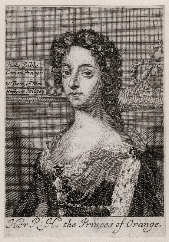 Queen Mary II when Princess of Orange, after Isaac Beckett, after  Sir Peter Lely, 1680s - NPG D42302 - © National Portrait Gallery, London