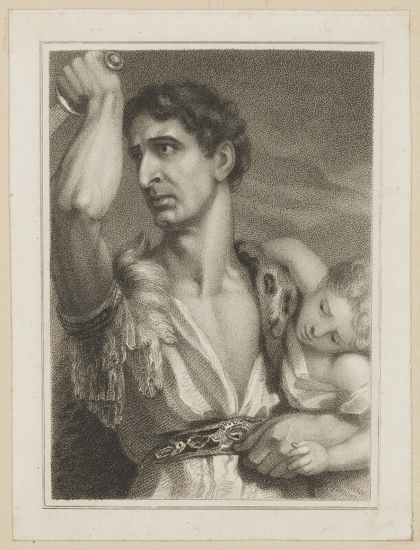 John Philip Kemble as Rolla, by Thomas Charles Wageman, published by  Simpkin and Marshall, after  Benjamin Holl, published 1824 - NPG D38670 - © National Portrait Gallery, London