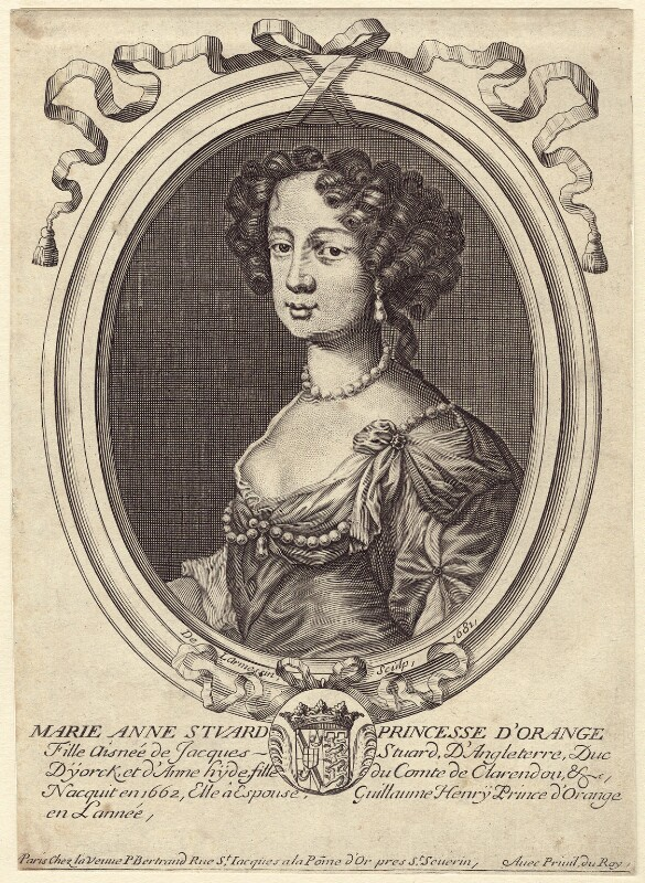 Queen Mary II, by Nicolas de Larmessin, published by  Pierre Bertrand, after  Sir Peter Lely, 1681 - NPG D42307 - © National Portrait Gallery, London