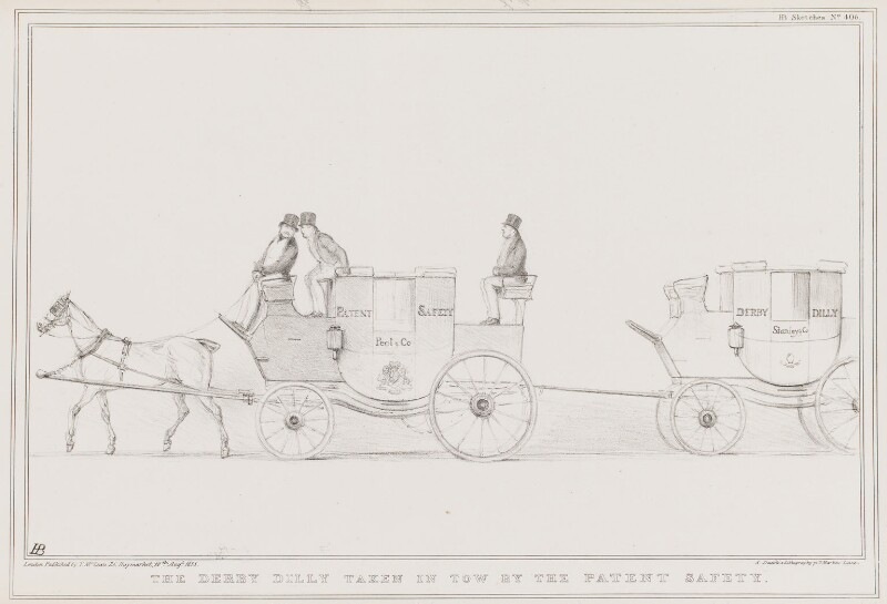 The Derby Dilly Taken in Tow by the Patent Safety, by John ('HB') Doyle, printed by  Alfred Ducôte, published by  Thomas McLean, published 10 August 1835 - NPG D41340 - © National Portrait Gallery, London