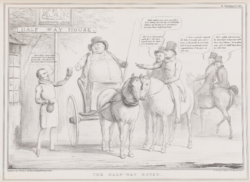 The Half-Way House, by John ('HB') Doyle, printed by  Alfred Ducôte, published by  Thomas McLean, published 29 August 1835 - NPG D41344 - © National Portrait Gallery, London