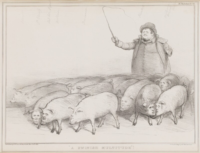 A Swinish Multitude, by John ('HB') Doyle, printed by  Alfred Ducôte, published by  Thomas McLean, published 7 October 1835 - NPG D41349 - © National Portrait Gallery, London