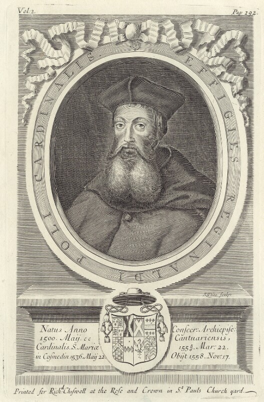 Reginald Pole, by Robert White, published by  Richard Chiswell, published 1681 - NPG D42316 - © National Portrait Gallery, London