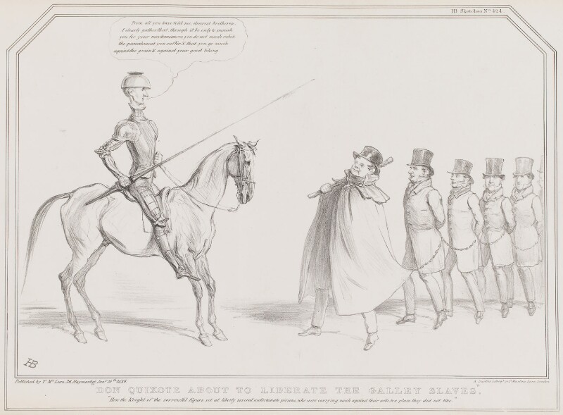 Don Quixote about to Liberate the Galley Slaves, by John ('HB') Doyle, printed by  Alfred Ducôte, published by  Thomas McLean, published 30 January 1836 - NPG D41358 - © National Portrait Gallery, London