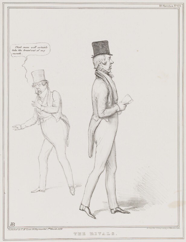 The Rivals (John Liston; George William Frederick Howard, 7th Earl of Carlisle), by John ('HB') Doyle, printed by  Alfred Ducôte, published by  Thomas McLean, published 7 March 1836 - NPG D41359 - © National Portrait Gallery, London
