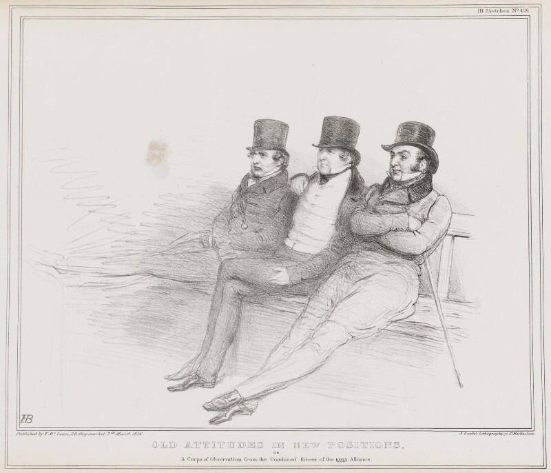 Old Attitudes in New Positions, by John ('HB') Doyle, printed by  Alfred Ducôte, published by  Thomas McLean, published 7 March 1836 - NPG D41360 - © National Portrait Gallery, London